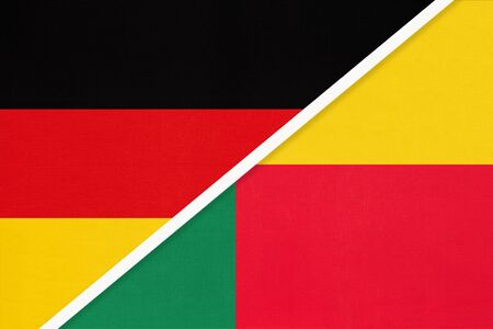 Federal Republic of Germany vs Benin, symbol of two national flags from textile. Relationship, partnership and championship between European and African countries.