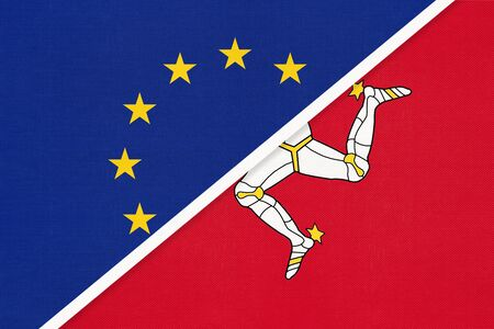 European Union or EU vs Isle of Man or Mann national flag from textile. Symbol of the Council of Europe association. Europe championship