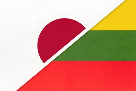 Japan vs Republic of Lithuania, symbol of two national flags from textile. Relationship, partnership and championship between European and Asian countries.
