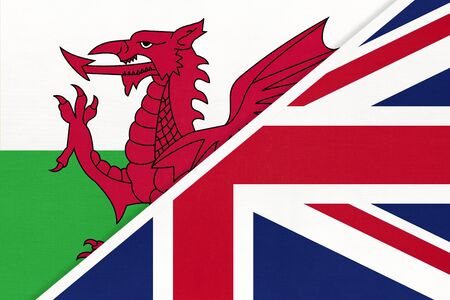 United Kingdom of Great Britain and Ireland and Wales national flag from textile. Relationship, partnership and economic between European countries.