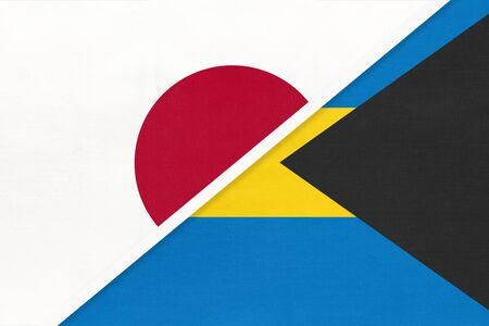 Japan and Commonwealth of The Bahamas, symbol of two national flags from textile. Relationship, partnership and championship between American and Asian countries.