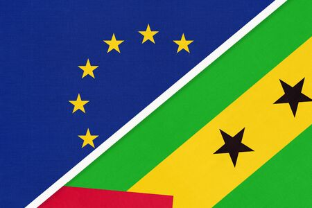 European Union or EU and Sao Tome and Principe or Saint Thomas and Prince national flag from textile. Symbol of the Council of Europe association opposite African country. Europe championship