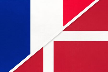 French Republic or France and Denmark, symbol of national flags from textile. Relationship, partnership and championship between two european countries.