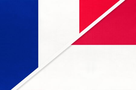 French Republic or France and Monaco, symbol of national flags from textile. Relationship, partnership and championship between two european countries.