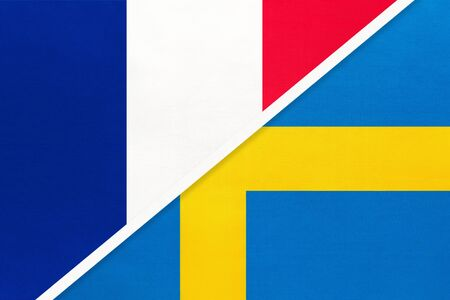 French Republic or France and Sweden, symbol of national flags from textile. Relationship, partnership and championship between two european countries.