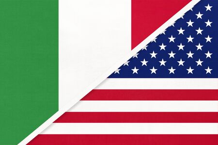 Italy or Italian Republic and United States of America or USA, symbol of two national flags from textile. Relationship, partnership and championship between American and European countries.