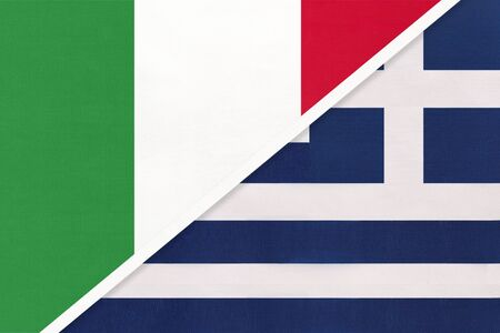 Italy or Italian Republic and Greece or Hellenic Republic, symbol of national flags from textile. Relationship, partnership and championship between two European countries. Stock Photo