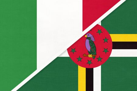 Italy or Italian Republic and Dominica, symbol of two national flags from textile. Relationship, partnership and championship between American and European countries.