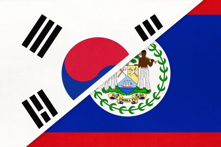 South Korea or ROK and Belize, symbol of two national flags from textile. Relationship, partnership and championship between American and Asian countries.