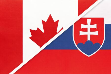 Canada and Slovakia or Slovak Republic, symbol of two national flags from textile. Relationship, partnership and championship between European and American countries.