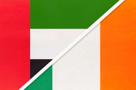 United Arab Emirates or UAE and Ireland, symbol of two national flags from textile. Relationship, partnership and championship between European and Asian countries.