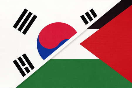 South Korea or ROK and Palestine, symbol of national flags from textile. Relationship, partnership and championship between two Asian countries.