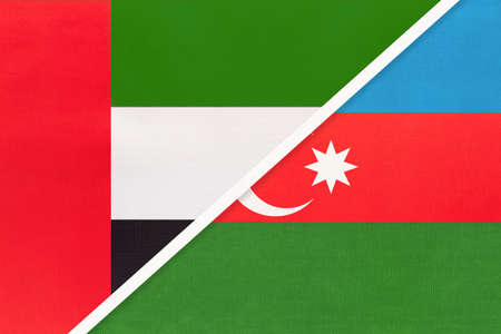 United Arab Emirates or UAE and Azerbaijan, symbol of national flags from textile. Relationship, partnership and championship between two Asian countries.