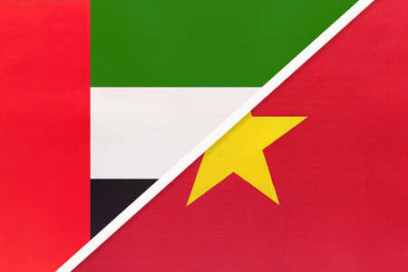 United Arab Emirates or UAE and Vietnam, symbol of national flags from textile. Relationship, partnership and championship between two Asian countries.