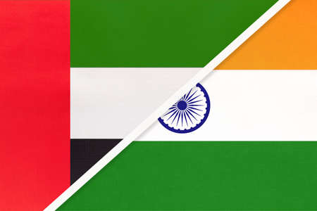 United Arab Emirates or UAE and India, symbol of national flags from textile. Relationship, partnership and championship between two Asian countries.
