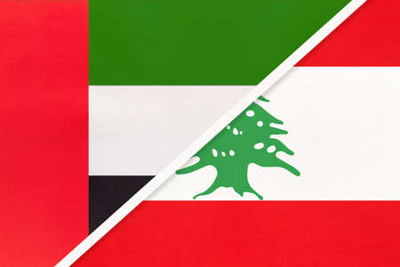 United Arab Emirates or UAE and Lebanon or Lebanese Republic, symbol of national flags from textile. Relationship, partnership and championship between two Asian countries.