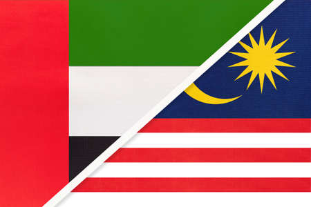 United Arab Emirates or UAE and Malaysia, symbol of national flags from textile. Relationship, partnership and championship between two Asian countries.
