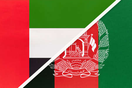 United Arab Emirates or UAE and Afghanistan, symbol of national flags from textile. Relationship, partnership and championship between two Asian countries.