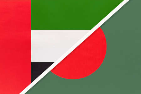 United Arab Emirates or UAE and Bangladesh, symbol of national flags from textile. Relationship, partnership and championship between two Asian countries. Archivio Fotografico