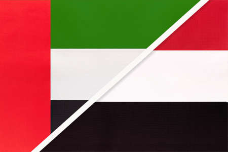 United Arab Emirates or UAE and Yemen, symbol of national flags from textile. Relationship, partnership and championship between two Asian countries.