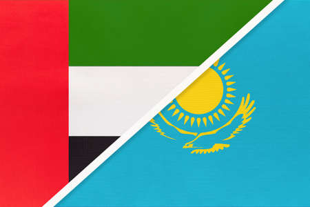 United Arab Emirates or UAE and Kazakhstan, symbol of national flags from textile. Relationship, partnership and championship between two Asian countries. Archivio Fotografico