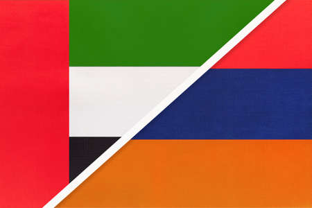 United Arab Emirates or UAE and Armenia, symbol of national flags from textile. Relationship, partnership and championship between two Asian countries. Archivio Fotografico - 151189214