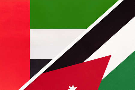 United Arab Emirates or UAE and Jordan, symbol of national flags from textile. Relationship, partnership and championship between two Asian countries.