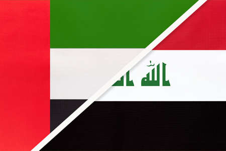 United Arab Emirates or UAE and Iraq, symbol of national flags from textile. Relationship, partnership and championship between two Asian countries. Archivio Fotografico - 151189311