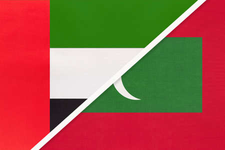 United Arab Emirates or UAE and Maldives, symbol of national flags from textile. Relationship, partnership and championship between two Asian countries.