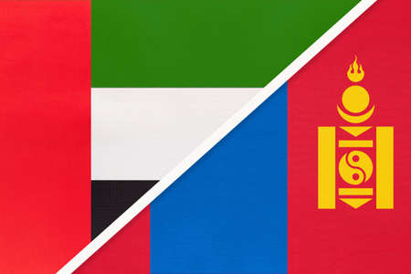 United Arab Emirates or UAE and Mongolia, symbol of national flags from textile. Relationship, partnership and championship between two Asian countries.