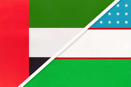United Arab Emirates or UAE and Uzbekistan, symbol of national flags from textile. Relationship, partnership and championship between two Asian countries.