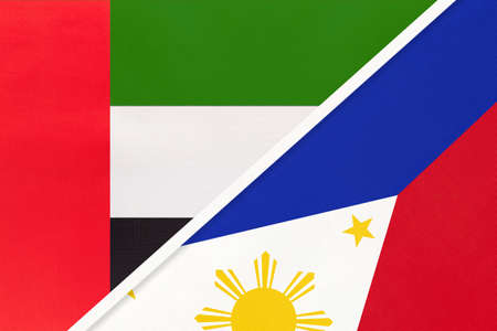 United Arab Emirates or UAE and Philippines, symbol of national flags from textile. Relationship, partnership and championship between two Asian countries.