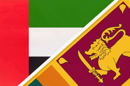 United Arab Emirates or UAE and Sri Lanka, symbol of national flags from textile. Relationship, partnership and championship between two Asian countries.