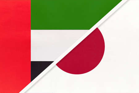 United Arab Emirates or UAE and Japan, symbol of national flags from textile. Relationship, partnership and championship between two Asian countries. Archivio Fotografico - 151191560