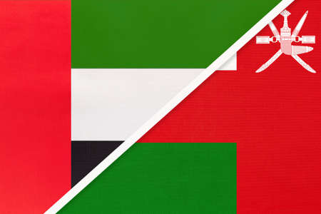 United Arab Emirates or UAE and Sultanate of Oman, symbol of national flags from textile. Relationship, partnership and championship between two Asian countries. Archivio Fotografico