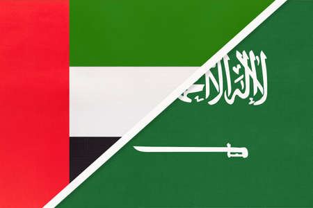 United Arab Emirates or UAE and Saudi Arabia, symbol of national flags from textile. Relationship, partnership and championship between two Asian countries. Archivio Fotografico