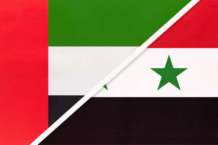 United Arab Emirates or UAE and Syrian Arab Republic or Syria, symbol of national flags from textile. Relationship, partnership and championship between two Asian countries. Archivio Fotografico