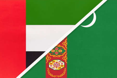 United Arab Emirates or UAE and Turkmenistan or Turkmenia, symbol of national flags from textile. Relationship, partnership and championship between two Asian countries.