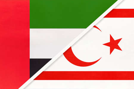 United Arab Emirates or UAE and Northern Cyprus or TRNC, symbol of national flags from textile. Relationship, partnership and championship between two Asian countries. Archivio Fotografico