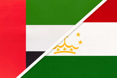 United Arab Emirates or UAE and Tajikistan, symbol of national flags from textile. Relationship, partnership and championship between two Asian countries.