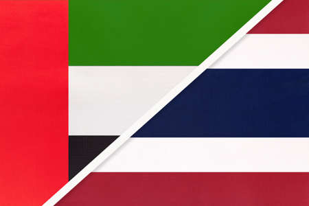 United Arab Emirates or UAE and Thailand or Siam, symbol of national flags from textile. Relationship, partnership and championship between two Asian countries.
