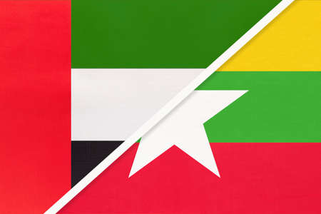 United Arab Emirates or UAE and Myanmar or Burma, symbol of national flags from textile. Relationship, partnership and championship between two Asian countries. Archivio Fotografico