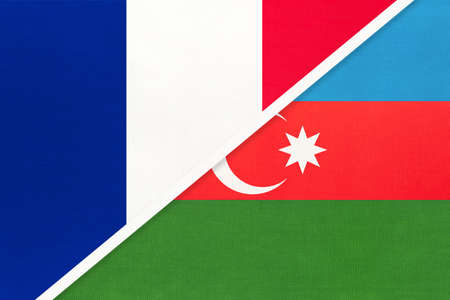 French Republic or France and Azerbaijan, symbol of two national flags from textile. Relationship, partnership and championship between European and Asian countries. Archivio Fotografico - 151447065