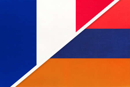 French Republic or France and Armenia, symbol of two national flags from textile. Relationship, partnership and championship between European and Asian countries.