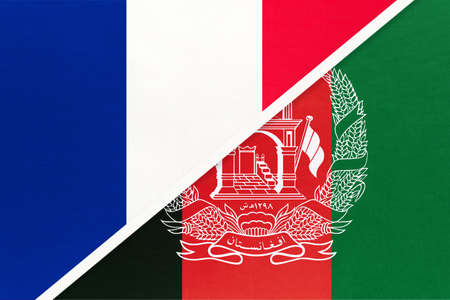 French Republic or France and Afghanistan, symbol of two national flags from textile. Relationship, partnership and championship between European and Asian countries.