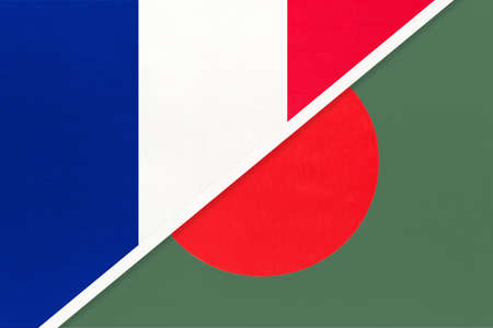 French Republic or France and Bangladesh, symbol of two national flags from textile. Relationship, partnership and championship between European and Asian countries. Archivio Fotografico