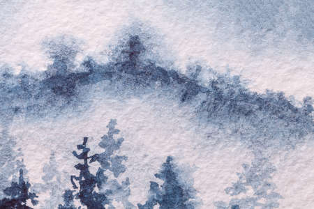 Abstract art background light blue and white colors. Watercolor painting on canvas with soft denim gradient. Fragment of artwork on paper with winter forest pattern. Texture backdrop, macro.