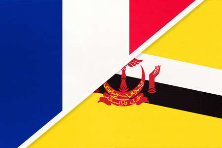 French Republic or France and Brunei, symbol of two national flags from textile. Relationship, partnership and championship between European and Asian countries.