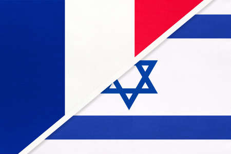 French Republic or France and Israel, symbol of two national flags from textile. Relationship, partnership and championship between European and Asian countries. Archivio Fotografico - 151447071