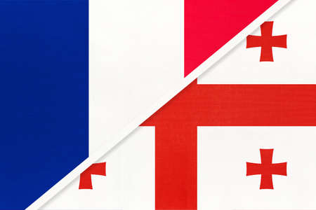 French Republic or France and Georgia, symbol of two national flags from textile. Relationship, partnership and championship between European and Asian countries.